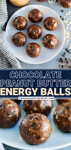 Chocolate Peanut Butter Energy Balls are the perfect no-bake, healthy snacks! The chocolate peanut butter combo in this yummy healthy recipe is amazing. Plus, these peanut butter chocolate protein balls are vegan and packed with fiber. They will keep you full all morning! Pin these healthy treats! Chocolate Protein Balls, Chocolate Peanut Butter, Chocolate Desserts, No Bake Snacks, Yummy Snacks, Yummy Food, Low Carb Vegetarian Recipes, Low Carb Recipes, Healthy Baking