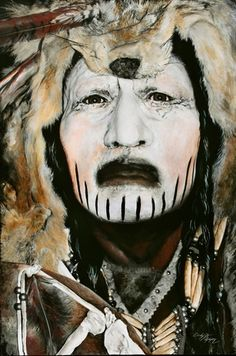 """😍✌❗ Incredible Art - """" Crow Dog """" acrylic on canvas, Limited Edition/ 150 by artist Cindy Jo Popejoy Native American Regalia, Native American Face Paint, Native American Warrior, Native American Paintings, Native American Photos, Native American Artists, American Indian Art, Native American History, American Indians"""
