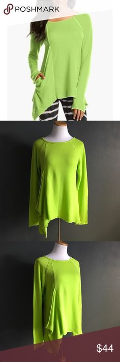 """Hard Tail Frolic Sweatshirt Hard Tail Frolic Sweatshirt. Neon yellow/green. An angled, inset panel creates and unexpected draping down one side of a buttery-soft knit top. Exposed seaming. In great condition. A02  Underarm to underarm 19"""" Length 24.5"""" to 30.5"""" Hard Tail Tops Sweatshirts & Hoodies"""