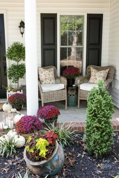 Create a cozy fall porch using plum and red mums with gold lanterns and floral toss pillows.This post is sponsored by Better Homes & Gardens at Walmart. Cute Pillows, Toss Pillows, Porch Decorating, Decorating Tips, Seasonal Decor, Fall Decor, Gold Lanterns, Front Porch Design, Porch Furniture