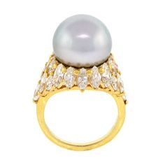 South Sea Pearl and Diamond Ring | From a unique collection of vintage fashion rings at http://www.1stdibs.com/jewelry/rings/fashion-rings/