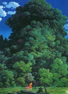 Mei and Satsuki view a Camphor tree in 'My Neighbor Totoro' - Hayao Miyazaki - Studio Ghibli 〔F〕『となりのトトロ』より。こんな大きな木があったら何かパワーを貰えそう