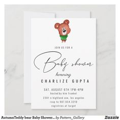 AutumnTeddy bear Baby Shower Invitation Baby Shower Invitation Cards, Baby Shower Invites For Girl, Rustic Invitations, Create Your Own Invitations, For Your Party, Colored Envelopes, Envelope Liners, Paper Texture, Bear