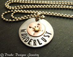 Travel compass necklace wanderlust necklace by drakedesignsjewelry