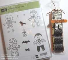 Fun and easy to make, the Halloween Chocolate Candy Treat Bag! Just cover chocolate nuggets with small strip of designer paper and slide into a narrow cello bag! https://www.stampinup.com/ECWeb/?dbwsdemoid=54345