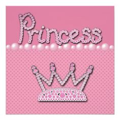 Princess Crown Shoes & Jewel Pacifier Baby Shower Personalized Invites