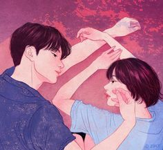 Artist Zipcy captures the intimacy between a couple in her relationship drawings. Each couple illustration shows the personal moments between the pair. Paar Illustration, Korean Illustration, Illustration Art Nouveau, Couple Illustration, Cute Couple Drawings, Cute Couple Art, Cute Drawings, Couple Ideas, Sweet Couple
