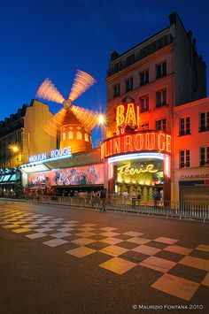 Moulin Rouge by night  Paris