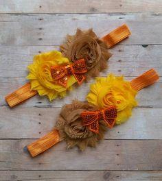 Yellow, Orange and Brown Shabby Flower Twin set Headbands
