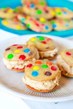 Mini rainbow M&M cookies with peanut butter buttercream