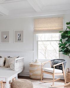Proof that bright and airy can also be warm and welcoming. Get the look at theshadestore.com // Design: Colette Interiors // Photo: Linda Pordon Bamboo Grass, Woven Wood Shades, Decorative Borders, Interior Photo, Window Treatments, Blinds, Living Spaces, New Homes, Interiors