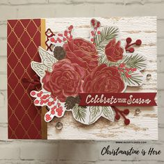 Christmastime is Here DSP Cards Video Tutorial - Alisa Tilsner - Christmas Rose Diy Christmas Cards Stampin Up, Company Christmas Cards, Homemade Christmas Cards, Christmas Cards To Make, Homemade Cards, Stampin Up Cards, Xmas Cards, Christmas Rose, Christmas Time Is Here