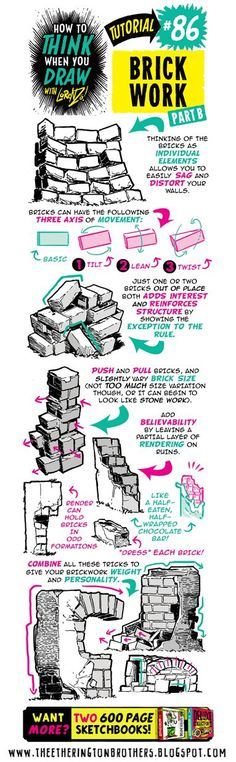The Etherington Brothers: How to THINK when you draw BRICKS, WALLS and BRICKWORK tutorial
