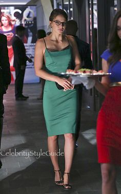 Kara Danvers Looks Holiday Ready In This Charming Emerald Lace Trim Slip Dress