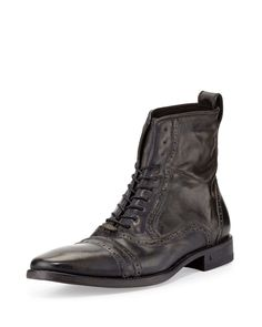 Brogue Leather Lace-Up Boot, Black