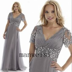 Wedding Bridal Long Chiffon Mother Of the Bride Dresses V-Neck Formal Gowns Bead #Dress