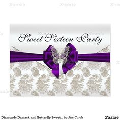 Diamonds Damask and Butterfly Sweet Sixteen 5x7 Paper Invitation Card