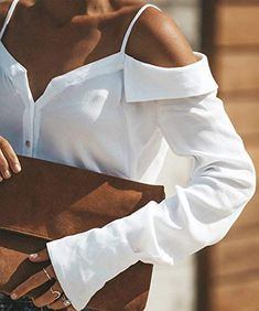 Sexy Off Shoulder Plain Long Sleeve Straps Blouse – Ratecuteshop Collar Styles, Blouse Styles, Blouse Designs, Expensive Clothes, Collars For Women, White Shoulders, White Long Sleeve, Sexy, Casual
