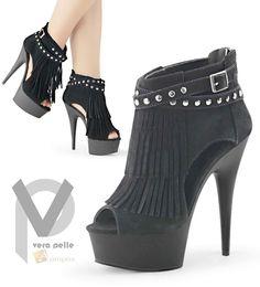 Vera Pelle Stiefeletten 10cm Pumps Stilettos Ankle Boots Italy Plateau Fransen