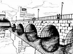 〈水面橋〉 あの世とこの世は紙一重 筆特訓肆拾壱