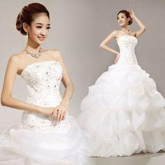 strapless cake dress wedding dress sequin sexy custom size plus size princess dress