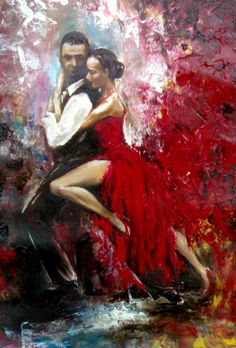 Original Ölgemälde Tango-Tänzer Passion Dance von ArtSunday