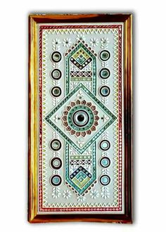Exclusive Mud Work , Mud Painting Frames from Kutch ( also known as Kachchh) , Gujarat. Mirror Painting, Mirror Art, Mural Painting, Mural Art, Murals, Clay Wall Art, Clay Art, Mud Paint, Indian Folk Art