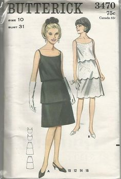 1960s Scoop Neck Tiered Cocktail Dress Scallop Hems A-Line Butterick 3470 Ca. 1965 Uncut FF Size 10 Bust 31 Women's Vintage Sewing Pattern