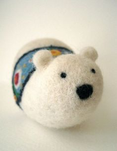 Arctic Sun Bear  Spirit Bear  Needle Felted Polar by Woolnimals, $42.00