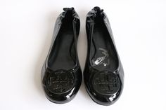 Tory Burch Womens Black Reva Patent Leather Ballet Flats Casual Slip On Shoes Size Left 8 Right 7.5