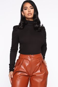 Available In Black, Off White, And Taupe.Turtleneck TopPuff SleeveRib Polyester Rayon SpandexMade In U. Black Romper, Dress Black, Blue Jumpsuits, Women Swimsuits, Lady, Women Lingerie, Black Tops, Long Sleeve Tops, Knit Tops