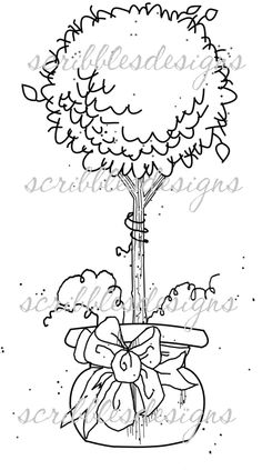 $3.00 Topiary Digital Stamp  (http://buyscribblesdesigns.blogspot.ca/2013/04/632-topiary-1-300.html) digital stamps, digis, scribbles designs, topiary, tree, garden
