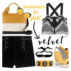 """""""Crushing It: Summer to Fall Velvet"""" by eula-eldridge-tolliver ❤ liked on Polyvore featuring Gina, Emilio Pucci, Exclusive for Intermix, Marni and Aamaya by priyanka"""