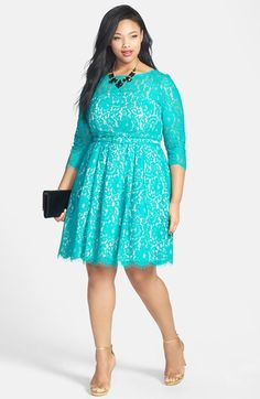 Plus Size Belted Lace Fit & Flare Dress (Plus Size)   Nordstrom #plussize #spring #dress