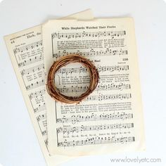 The makings of a mini Christmas music wreath