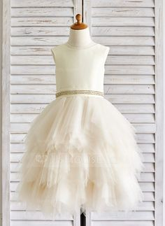 [US$ 72.99] A-Line/Princess Tea-length Flower Girl Dress - Tulle Sleeveless Scoop Neck With Rhinestone (010091392)