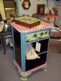 DIY Furniture fun painted antique night stand