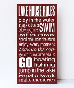 Red 'Lake House Rules' Wall Art by Vinyl Crafts #zulily #zulilyfinds