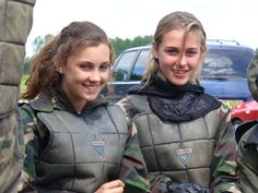 happy paintball girls