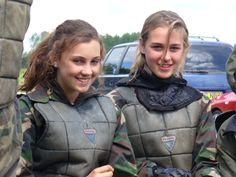 happy paintball girls