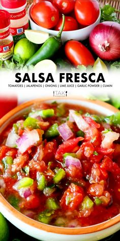 How to make the easiest salsa fresca recipe EVER! This fresh salsa recipe tastes identical to the one at Chuy's Tex-Mex restuarant! All you need is a few vegetables, lime, and a blender or food processor! The perfect party appetizer to go with your Mexican food!