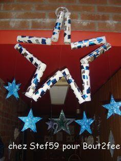 Chez Stéphanie, le noël cette année est bleu et blanc. Alors voici un bel échantillon de ce qui a été fait dans son école. Des boules de Noël , sur des assiettes d'autres boules une botte de Noël Des étoiles Merci à Stéphanie pour le partage.