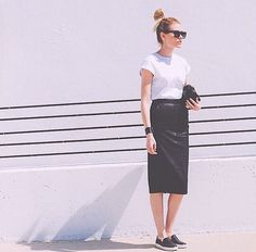 09b0c25fc Leather and a tee Leather Midi Skirt, Black Leather Skirts, Asos Skirts,  Vogue