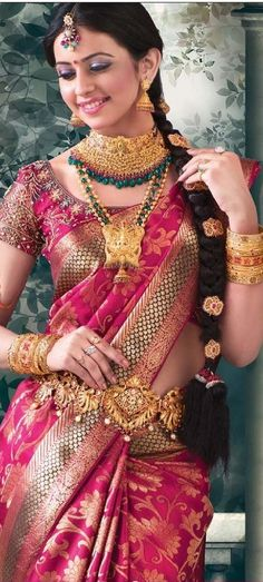 Pink silk saree or sari and blouse. Bridal jewellery and hairstyle. #IndianFashion
