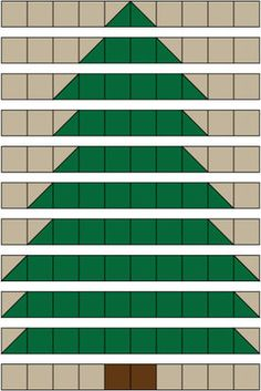 There are eleven rows in the Christmas Tree Quilt, each with ten units.