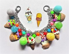 Here is a fun one-of-a-kind ICE CREAM SOCIAL charm bracelet! Its super chunky, and totally loaded with yummy ice cream treats and colorful beads. The perfect accessory for someone sweet!   The trinkets featured on this bracelet include:   Colorful acrylic beads  Polymer clay ice cream cone  sundae charms  Colorful acrylic faux sugar beads   This bracelet is approximately 7 3/4 and is made with silver metal chain that is nickel and lead free. The charms are attached with split rings (they...