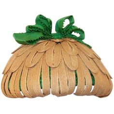 Whimsical 1950's Bonta Creatrice Straw Petal Hat With Kelly Green Bow   From a collection of rare vintage hats at https://www.1stdibs.com/fashion/accessories/hats/