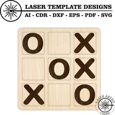 Tic Tac Toe Game Template for epilog glowforge and trotec. Ready for cnc, laser or cricut. File comes in pdf svg dxf ai and cdr template digital download. Tic Tac Toe Game, Silhouette Studio Designer Edition, Laser Cutting, Cricut Design, Cnc, Create Yourself, Personalized Gifts, Templates, Layers