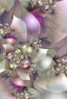 Lovely fractal flowers in pastel colors.