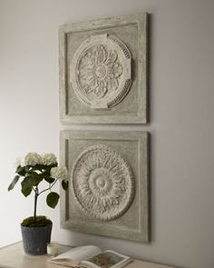 Medallion Wall Plaques at Horchow- each. DIY with mdf squares, apply ceiling medallions and paint. Ceiling Medallion Art, Ceiling Medallions, Diy Wall Art, Home Wall Art, Framed Doilies, Home Crafts, Diy Home Decor, Wall Plaques, Plates On Wall